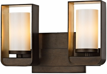 Troy B5702 Escape Modern Bronze w/ Gold Leaf Accent LED 2-Light Vanity Light