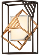 Troy B6081 Cubist Contemporary Bronze w/ Gold Leaf And Polished Stainless LED Lamp Sconce