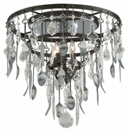 Troy C3800 Bistro Graphite Finish with Antique Pewter Flatware 17.5  Tall Ceiling Light Fixture