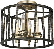 Troy C5890 Bastille Modern Pompeii Silver And Silver Leaf Flush Mount Lighting