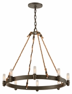 Troy F3125 Pike Place Shipyard Bronze Finish 23  Tall Hanging Chandelier