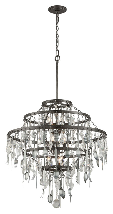 Troy F3809 Bistro Graphite Finish with Antique Pewter Flatware 30.25   Wide Lighting Chandelier. Loading zoom - Troy F3809 Bistro Graphite Finish With Antique Pewter Flatware 30.25