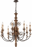 Troy F4538 Luxembourg Hand Carved Wood And Wrought Iron Hanging Chandelier