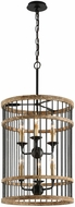 Troy F4856 Vineyard Rusty Iron Sal Wood 18.5  Drum Pendant Light Fixture