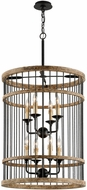 Troy F4857 Vineyard Rusty Iron Sal Wood 22.5  Drum Pendant Lighting Fixture