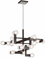 Troy F6076 Network Contemporary Forest Bronze And Polished Chrome Xenon Ceiling Chandelier