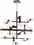 Troy F6077 Network Modern Forest Bronze And Polished Chrome Xenon Hanging Chandelier