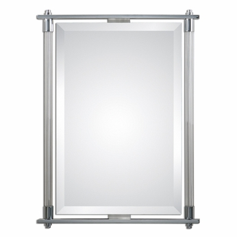 """Chrome Wall Mirror uttermost 01127 adara polished chrome plated finish 36"""" tall"""