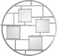 Uttermost 04089 Zaria Contemporary Bright Silver Leaf Wall Shelf Mirror