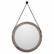 Uttermost 07656 Loughlin Rustic Bronze Finish 34  Tall Lightly Stained Wood Mirror