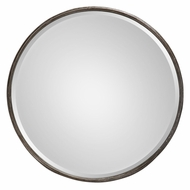 Uttermost 09034 Nova Heavily Burnished Gray Round Metal Wall Mounted Mirror