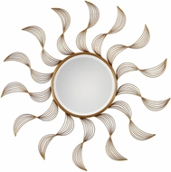 Uttermost 09218 Jeneil Contemporary Heavily Antiqued Gold Leaf Sun Wall Mirror