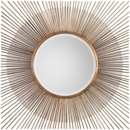 Uttermost 09222 Azie Contemporary Distressed Copper Leaf Square Starburst Wall Mirror