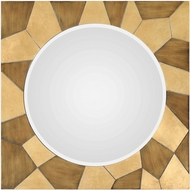 Uttermost 09384 Ussana Brushed Bronze and Metallic Gold Leaf Patterned Wood Mirror