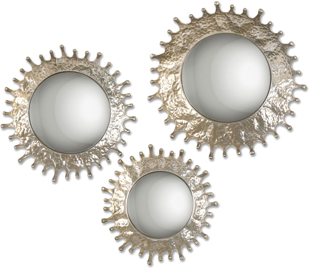 Uttermost Rain Splash Plated Silver Champagne Round Mirror Set Of Loading Zoom With Mirrors