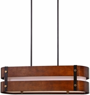 Uttermost 21281 Milford Contemporary Chestnut Wood / Oil Rubbed Bronze Island Lighting