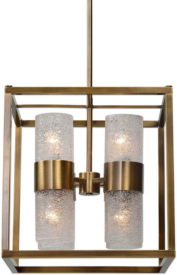 Affordable Foyer Lighting : Uttermost marinot modern antique brass foyer