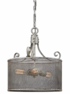 Uttermost 22004 Pontoise Vintage Style 19 Inch Tall Mesh Screen Drum Lighting Pendant