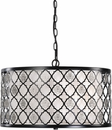 Uttermost 22062 Filigree Black Drum Pendant Light