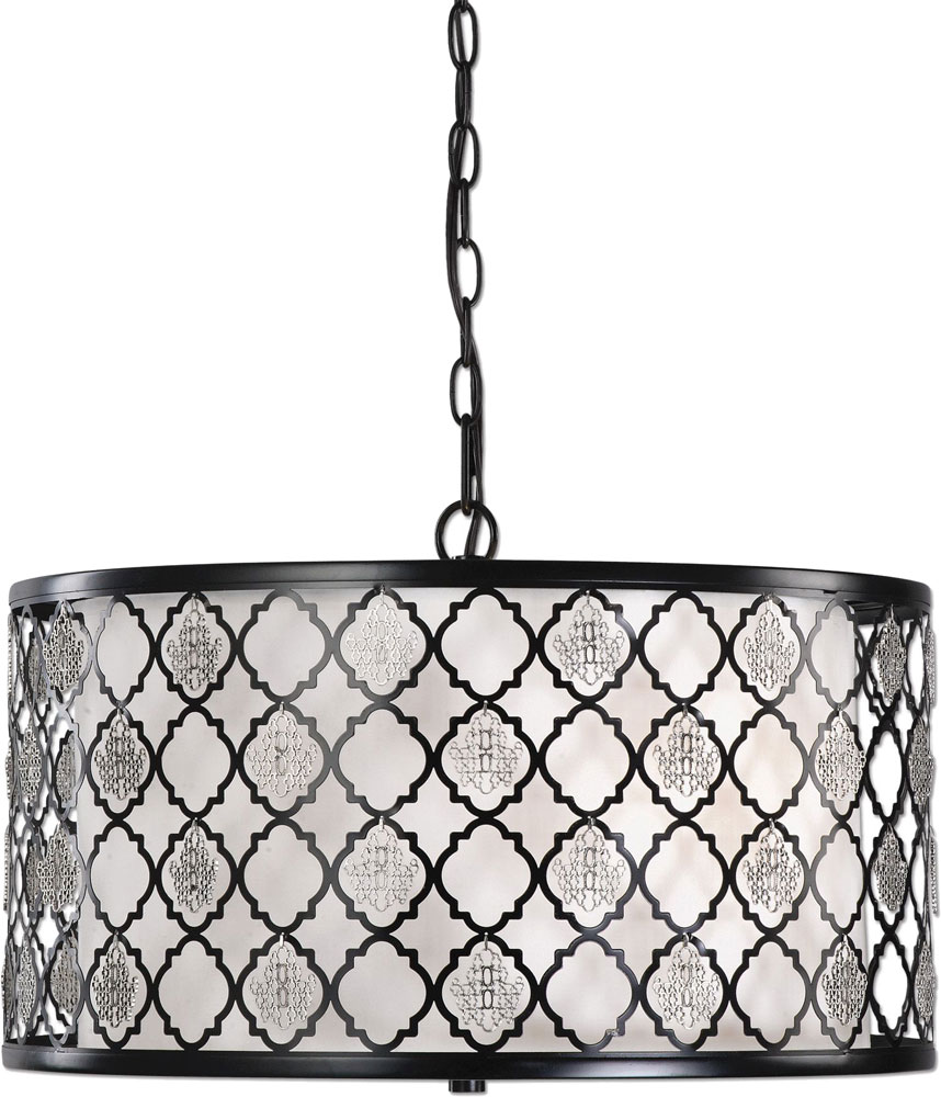 Uttermost 22062 Filigree Black Drum Pendant Light. Loading zoom  sc 1 st  Affordable L&s & Uttermost 22062 Filigree Black Drum Pendant Light - UTT-22062 azcodes.com