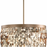 Uttermost 22064 Tillie Modern Textured Gold Drum Pendant Lamp