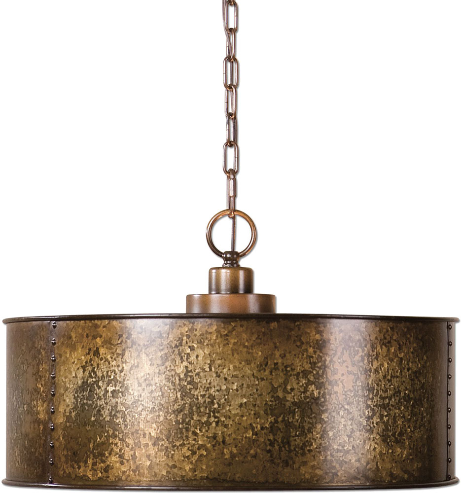 Uttermost 22066 Wolcott Vintage Golden Galvanized Drum Hanging Light. Loading zoom  sc 1 st  Affordable L&s : uttermost pendant lights - azcodes.com