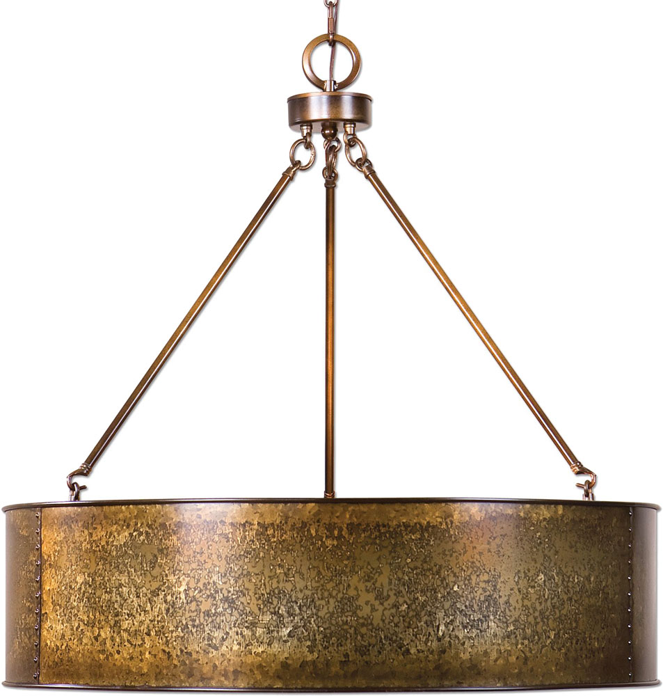 Super Uttermost 22067 Wolcott Retro Golden Galvanized Drum Pendant Light  UR95