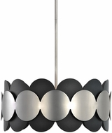 Uttermost 22104 Zooey Modern Textured Black And Satin Nickel Hanging Pendant Lighting