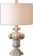 Uttermost 26192-1 Cassano Distressed Antiqued Ivory Finish 23.75 Tall Table Lamp Lighting
