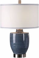 Uttermost 27339-1 Sylvaine Brushed Nickel Plated Blue-Gray Glaze Table Top Lamp