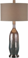 Uttermost 27507 Basola Plated Brushed Nickel Olive Gray Glass Side Table Lamp