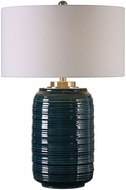 Uttermost 27520 Delane Plated Brushed Nickel Dark Teal Table Lamp Lighting