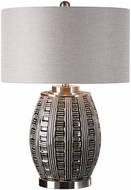 Uttermost 27521-1 Aura Brushed Nickel Plated Ash Black Glaze Table Top Lamp