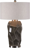 Uttermost 27522 Crayton Brushed Nickel Plated Crackled Gray Side Table Lamp