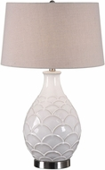 Uttermost 27534-1 Camellia Brushed Nickel Plated Glossed White Side Table Lamp