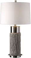 Uttermost 27538-1 Bartley Brushed Nickel Plated Old Wood Table Lighting