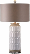 Uttermost 27542 Athilda Brushed Nickel Plated Gloss White Table Top Lamp