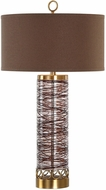 Uttermost 27545 Seaver Antique Brass Plated Spun Glass Side Table Lamp