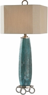 Uttermost 27725 Cabella Aged Blue Rust Patina Brushed Nickel Plated Table Lamp