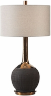Uttermost 27779 Arnav Matte Black with Metallic Gold Glazed Neck Table Top Lamp