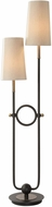 Uttermost 28169 Riano Contemporary Matte Black with Antiqued Brass Floor Light