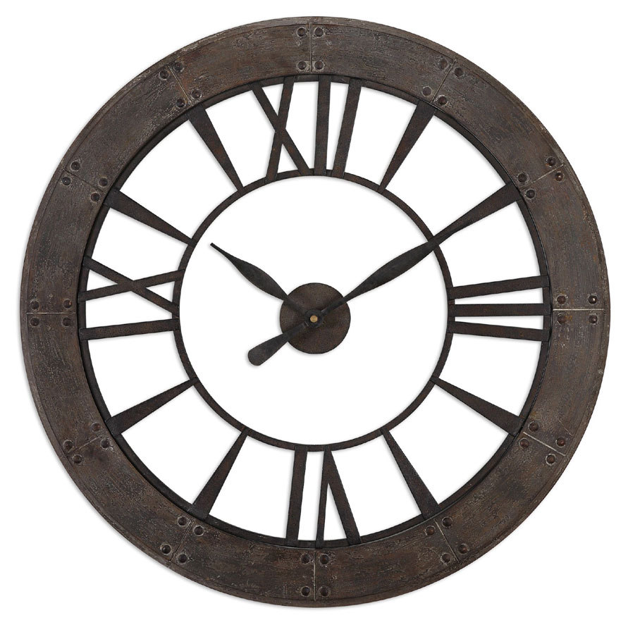 Uttermost 6085 Ronan Small Deep Frame 40 Inch Diameter Wall Clock ...