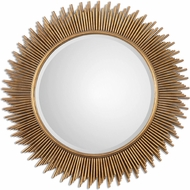 Uttermost 8137 Marlo Antiqued Gold Leaf Round Gold Mirror