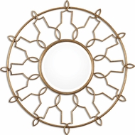 Uttermost 8140 Kensa Antiqued Gold Leaf Round Gold Mirror