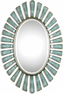 Uttermost 8141 Morvoren Antiqued Silver Champagne Blue-Gray Oval Mirror