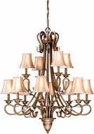 Vaxcel BE-CHS012AW Berkeley Traditional Aged Walnut Finish 38 Wide Chandelier Light
