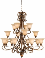 Vaxcel BE-CHU016AW Berkeley Traditional Aged Walnut Finish 49 Wide Hanging Chandelier