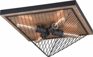 Vaxcel C0148 Dearborn Modern Black Iron with Burnished Oak Ceiling Light Fixture