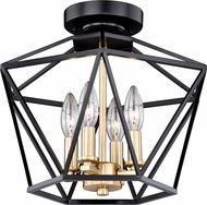 Vaxcel C0174 Turin Contemporary Noble Bronze with Natural Brass Flush Ceiling Light Fixture