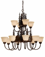 Vaxcel CH55712BBZ Bozeman Country Burnished Bronze Finish 38.5  Wide Hanging Chandelier
